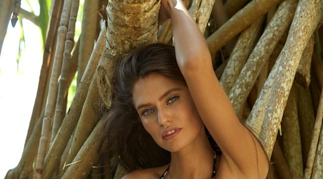 Bianca Balti was photographed by James Macari in Sumba Island. Swimsuit by Heidi Klum Swim.