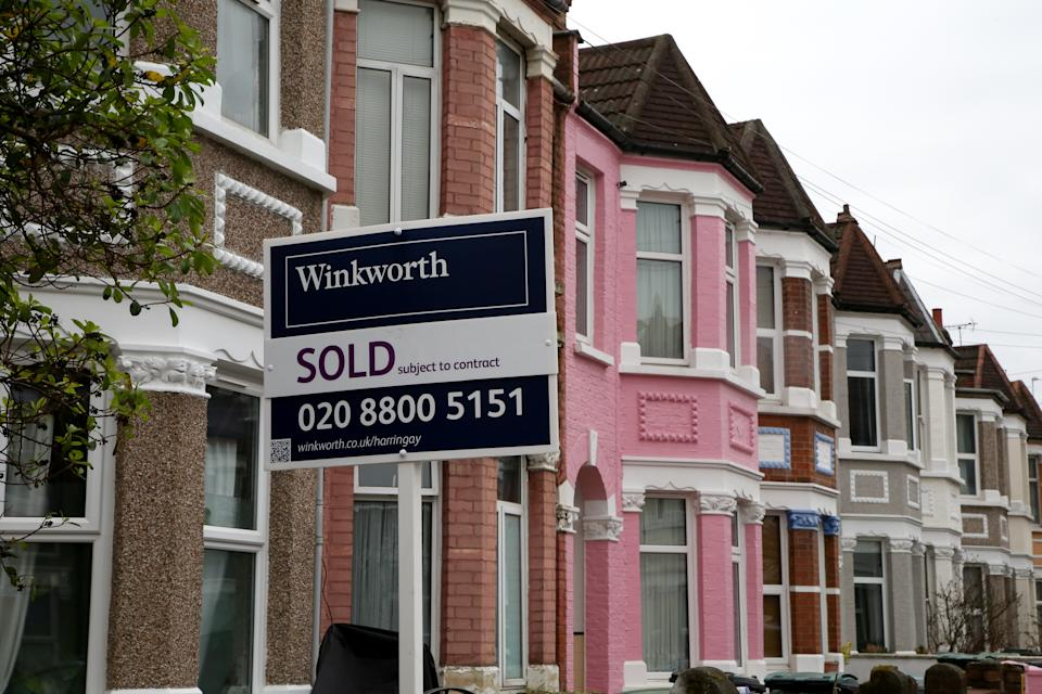 A 'Sold' sign outside a terraced house in London as pressure grows on chancellor of exchequer, Rishi Sunak for stamp duty holiday to be extended in UK Budget, which will take place on on 3 March 2021. The stamp duty holiday, which was introduced on 8 July 2020, is due to come to an end on 31 March 2021. (Photo by Dinendra Haria / SOPA Images/Sipa USA)