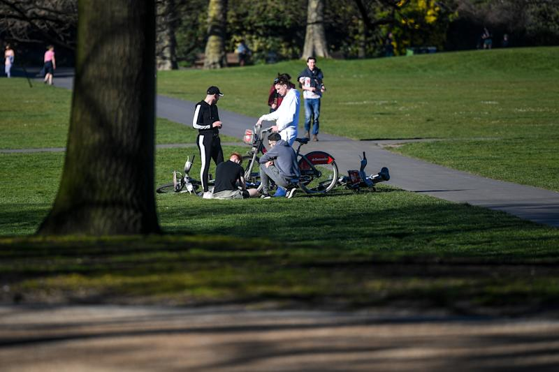 LONDON, ENGLAND - APRIL 05: A group of young men are seen gathered in Greenwich Park on April 5, 2020 in London, England . The Coronavirus (COVID-19) pandemic has spread to many countries across the world, claiming over 60,000 lives and infecting over 1 million people. (Photo by Peter Summers/Getty Images)
