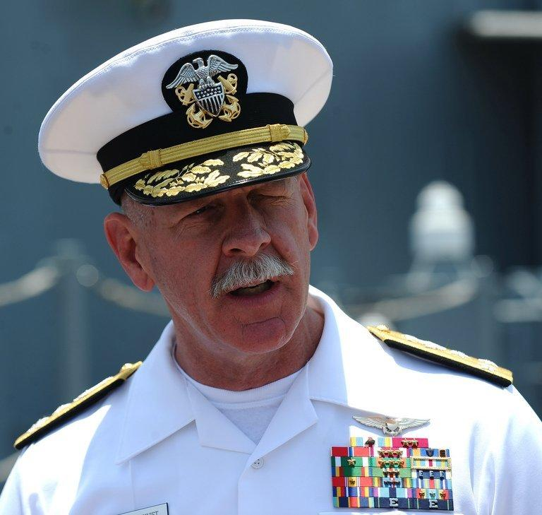 Vice Admiral Scott Swift, commander of the US 7th Fleet, speaks to journalists in Vietnam on April 23, 2012