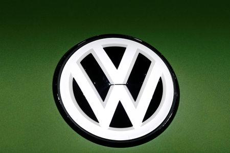 FILE PHOTO: A Volkswagen logo is seen on a new car model at the 89th Geneva International Motor Show in Geneva, Switzerland March 5, 2019. REUTERS/Denis Balibouse