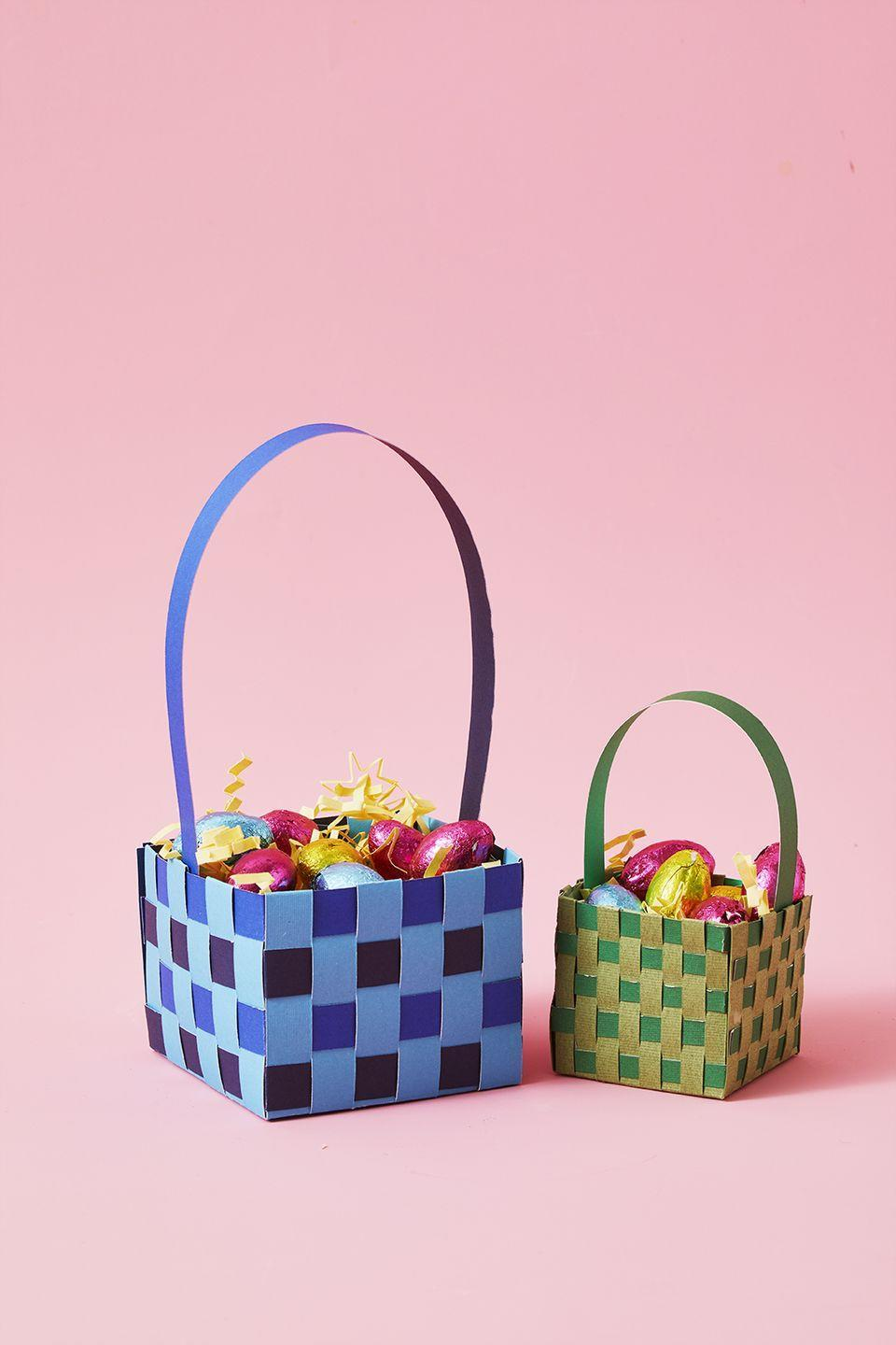 """<p>Starting completely from scratch? Grab up to three shades of sturdy colored paper and weave a 4"""" x 4"""" basket. </p><p><em><a href=""""https://www.goodhousekeeping.com/holidays/easter-ideas/a31116749/diy-paper-easter-basket/"""" rel=""""nofollow noopener"""" target=""""_blank"""" data-ylk=""""slk:Get the tutorial »"""" class=""""link rapid-noclick-resp"""">Get the tutorial » </a></em></p>"""