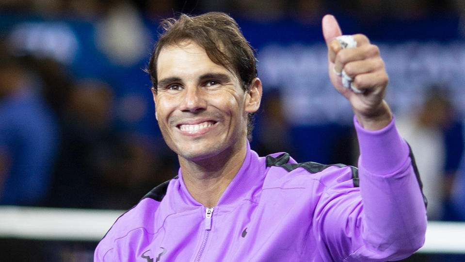 Rafa Nadal giving the thumbs up after he won the US Open.
