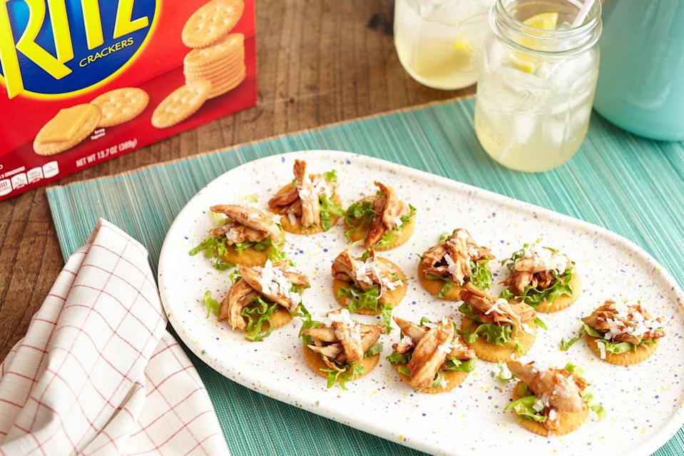 """<p>Don't underestimate these tiny appetizers! With the sweet flavors of barbecue sauce atop a cracker everyone loves, these mouthwatering bites can be whipped up and assembled in no time.</p> <p><strong>Get the recipe:</strong> <a href=""""https://www.popsugar.com/food/Mini-Barbecue-Chicken-Bites-43502264"""" class=""""link rapid-noclick-resp"""" rel=""""nofollow noopener"""" target=""""_blank"""" data-ylk=""""slk:mini barbecue chicken bites"""">mini barbecue chicken bites</a></p>"""
