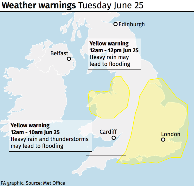 Weather warnings for Tuesday June 25