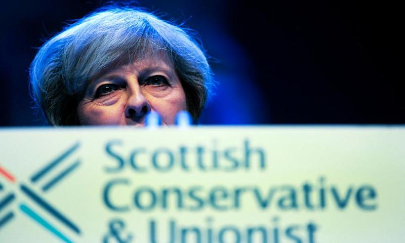 Theresa May addresses the 2017 Scottish Conservatives conference