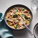 <p>This rich, yet healthy, white chicken chili comes together in a flash thanks to quick-cooking chicken thighs and canned white beans. Mashing some of the beans acts as a fast thickener when your soups don't have a long time to simmer. Cream cheese adds the final bit of richness and a hint of sweet tang.</p>