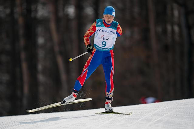 Ganbold Batmunkh MGL competes in the Standing Men's 20km Free Cross-Country Skiing at the Alpensia Biathlon Centre. The Paralympic Winter Games, PyeongChang, South Korea, Monday 12th March 2018. OIS/IOC/Bob Martin/Handout via REUTERS