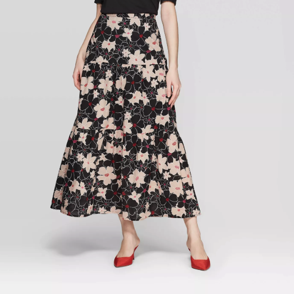 Women's Floral Print Mid-Rise Tiered A Line Maxi Skirt - Who What Wear™ Black