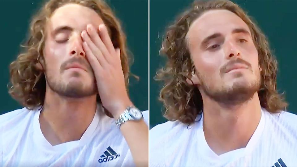 Stefanos Tsitsipas is seen here wiping away tears after his French Open slam semi-final win.