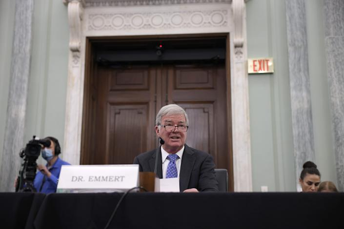"""NCAA president Mark Emmert speaks during a Senate committee hearing on """"NCAA Athlete NIL (name, image, and likeness) Rights"""" in June on Capitol Hill."""