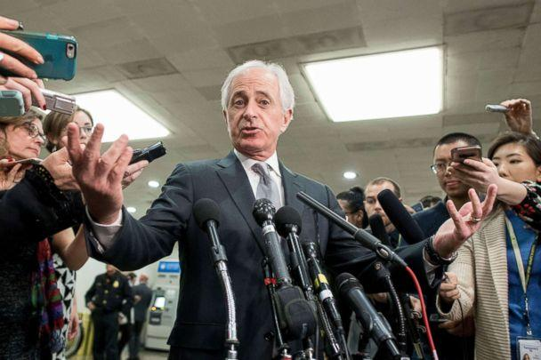 PHOTO: Senator Bob Corker speaks to members of the media following a closed briefing for US senators on Saudi Arabia in Washington, DC, Nov. 28, 2018. (Michael Reynolds/EPA via Shutterstock)