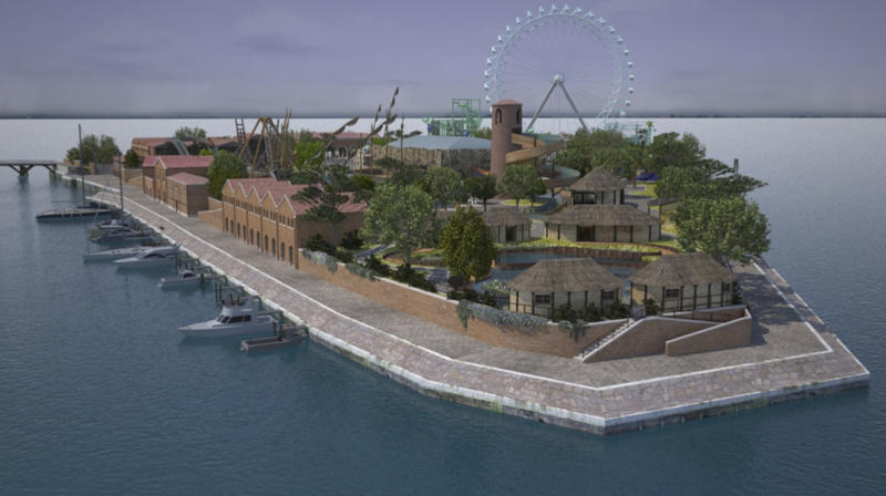 This rendering released Wednesday, Oct. 30, 2013, by the Zamperla Inc. press office, the Italian company that built Coney Island's latest attractions and an amusement park in a never-activated nuclear plant in Germany, shows how it will look the San Biagio island, where Alberto Zamperla plans to invest 80 million euros ($110 million) for a theme park in Venice. The theme park is planned for this abandoned island that once housed an incinerator, bringing both economic and environmental benefits by cleaning up a toxic site and creating 500 jobs. (AP Photo/Zamperla Press Office, HO)
