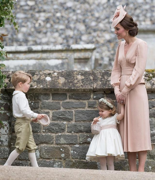 Prince George and Princess Charlotte at Aunt Pippa's wedding. (Getty)