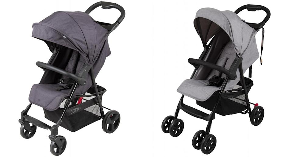 The Childcare Soho Stroller Black and the Childcare Stroller Grey are both being recalled. Source: ACCC