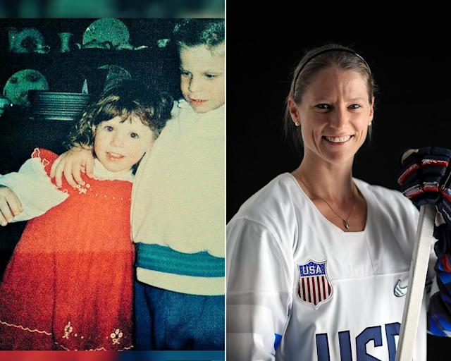 <p><strong>THEN:</strong> Kacey Bellamy with her big brother Rob.<br><strong>NOW:</strong> The two-time Olympic silver medalist grew up playing ice hockey with her brothers.<br> (Photo via Twitter/@kbells22, Photo by Mike Ehrmann/Getty Images) </p>