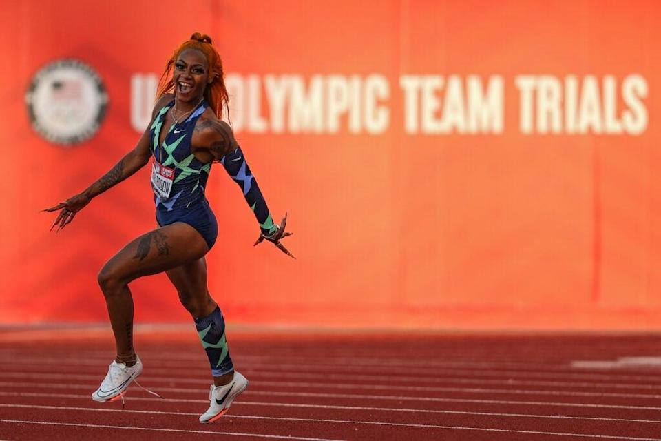 Sha'Carri Richardson celebrates winning the Women's 100 Meter final on day 2 of the 2020 U.S. Olympic Track & Field Team Trials at Hayward Field on June 19, 2021 in Eugene, Oregon. (Photo by Patrick Smith/Getty Images)