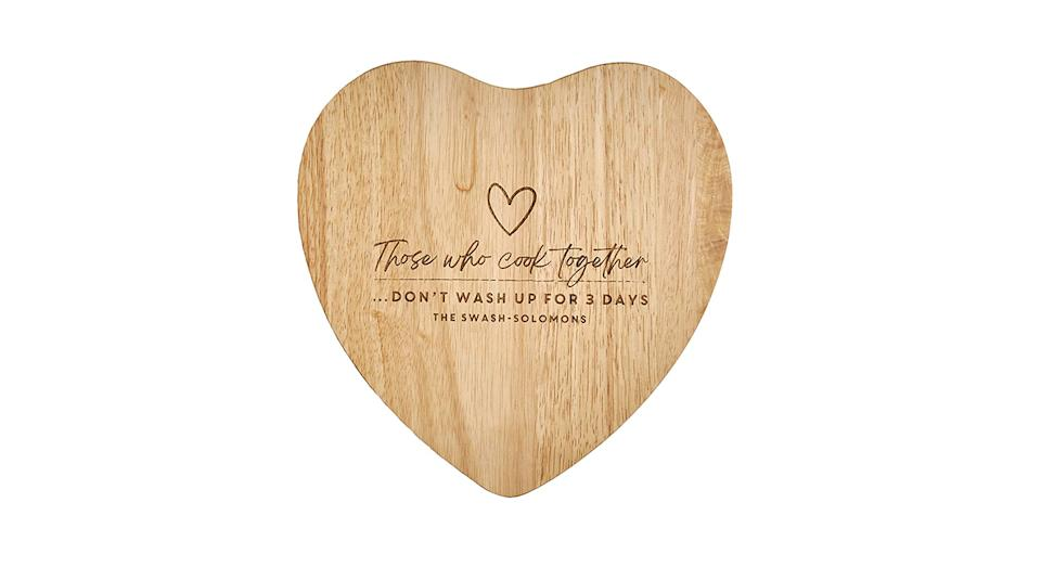 Those Who Cook Together Personalised Heart Chopping Board