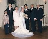 <p>Another popular look for '90s brides was the off-the-shoulder gown, like at this 1994 wedding. </p>
