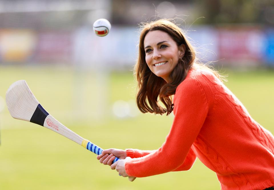 GALWAY, IRELAND - MARCH 05: Catherine, Duchess of Cambridge visits Salthill GAA club and participate in some hurling and gaelic football on the third day of their first official visit to Ireland on March 5, 2020 in Galway, Ireland.   (Photo by Julien Behal Pool/Samir Hussein/WireImage)