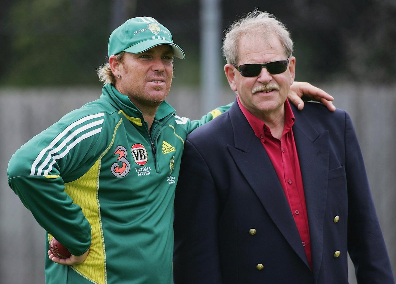 HOBART, TAS - NOVEMBER 15:  (L-R) Shane Warne of Australia stands with mentor Terry Jenner during training at Bellerive Oval on November 15, 2005 in Hobart, Australia.  (Photo by Hamish Blair/Getty Images)