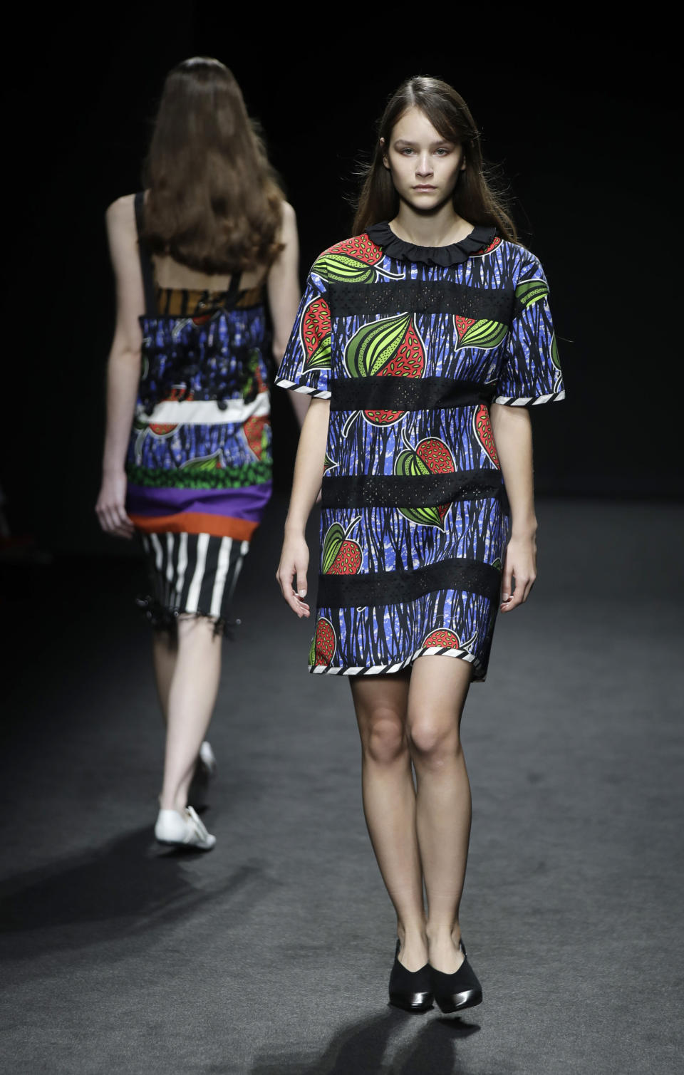 A model wears a creation part of the Shi.RT women's Spring-Summer 2021 ready-to-wear collection, that was presented in Milan, Italy, Sunday, Sept. 27, 2020. (AP Photo/Luca Bruno).