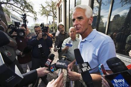 Former Florida Republican Governor Crist, who campaigned for U.S. President Obama in the 2012 presidential election, speaks to the media in St. Petersburg