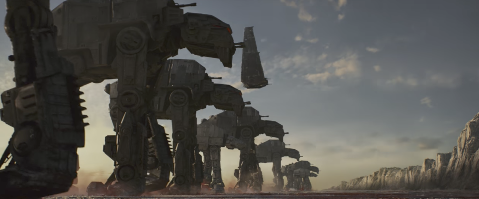 Brutish First Order walkers advance on Crait. (Credit: Lucasfilm)