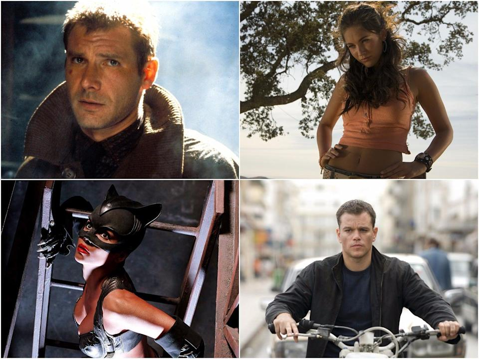 Clockwise from top right: Harrison Ford in Blade Runner, Megan Fox in Transformers, Matt Damon in The Bourne Ultimatum, and Halle Berry in Catwoman (Fox/Paramount/Universal/Warner Bros)