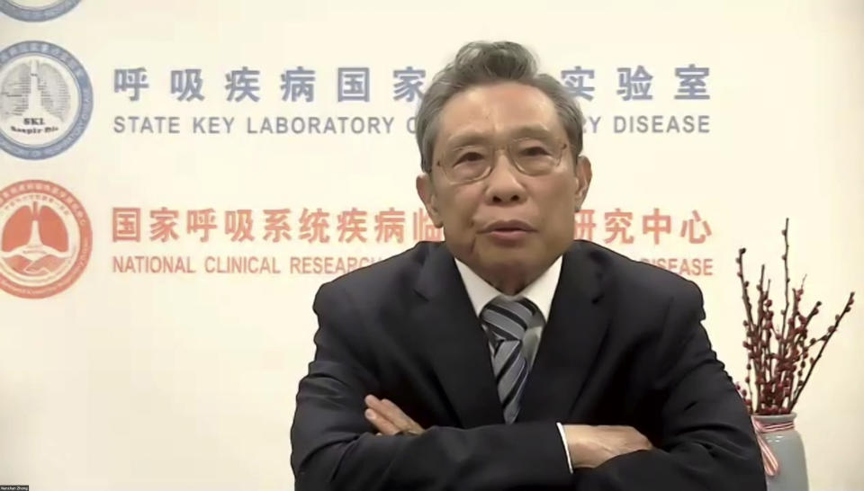 In this image made from a video conference and released by Brookings Institution and Tsinghua University, Zhong Nanshan, the head of an expert group attached to the National Health Commission, takes part in a seminar Monday, March 1, 2021, hosted by the Brookings Institution in Washington and Tsinghua University in Beijing between top U.S and Chinese medical experts. Zhong said the country has delivered 52.52 million doses of COVID-19 vaccines as of Feb. 28. (Brookings Institution and Tsinghua University via AP)