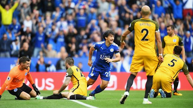 Brighton and Hove Albion were undone in the first minute at Leicester City and failed to recover from Shinji Okazaki's opener.