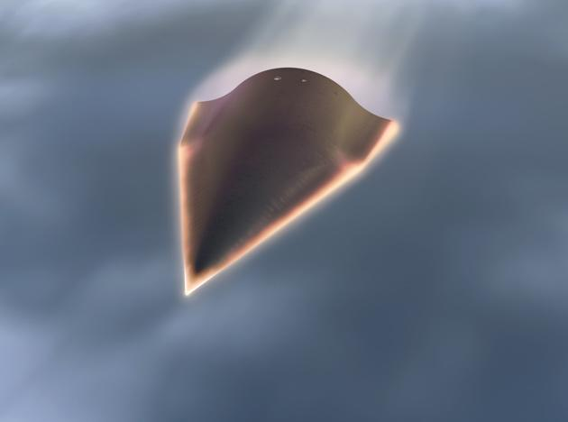 "This US Defense Advanced Research Projects Agency(DARPA) artists rendering shows the Falcon Hypersonic Technology Vehicle 2 (HTV-2). Falcon HTV-2 is an unmanned, rocket-launched, maneuverable aircraft that glides through the Earth's atmosphere at incredibly fast speeds—Mach 20 (approximately 13,000 miles per hour). At HTV-2 speeds, flight time between New York City and Los Angeles would be less than 12 minutes. The HTV-2 vehicle is a ""data truck"" with numerous sensors that collect data in an uncertain operating envelope. DARPA is scheduled to launch the second flight test of an unmanned hypersonic glider on August 11, 2011 to test technologies needed for a new global strike bomber concept designed to fly 20 times the speed of sound. Credit: DARPA"