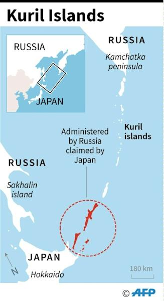 Map showing the Kuril islands disputed by Japan and Russia. (AFP Photo/AFP  )