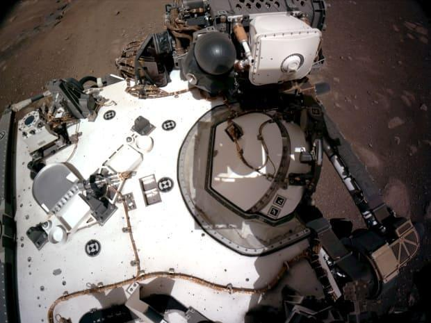 The navigation cameras, or navcams, aboard NASA's Perseverance Mars rover captured this view of the rover's deck on Feb. 20.