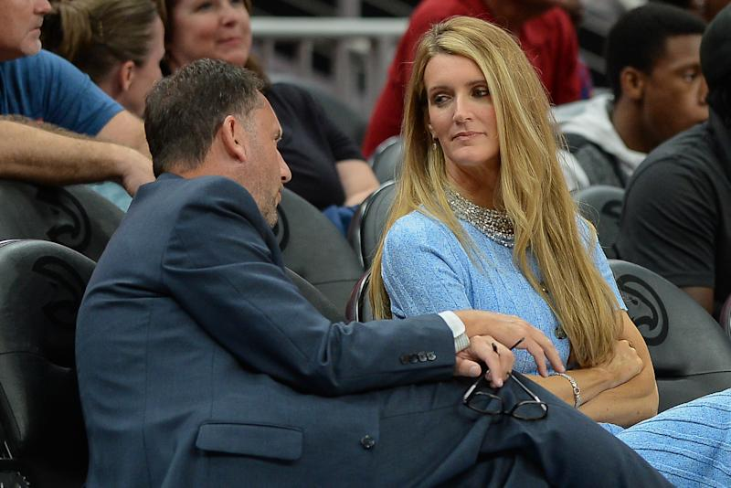 Atlanta owner Kelly Loeffler (right) talks with Dream General Manager Chris Sienko (left) during the WNBA game between the Las Vegas Aces and the Atlanta Dream on September 5th, 2019 at State Farm Arena in Atlanta, GA. (Photo by Rich von Biberstein/Icon Sportswire via Getty Images)