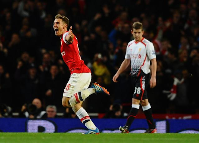 LONDON, ENGLAND - NOVEMBER 02: Aaron Ramsey of Arsenal celebrates his goal during the Barclays Premier League mach between Arsenal and Liverpool at Emirates Stadium on November 2, 2013 in London, England. (Photo by Laurence Griffiths/Getty Images)