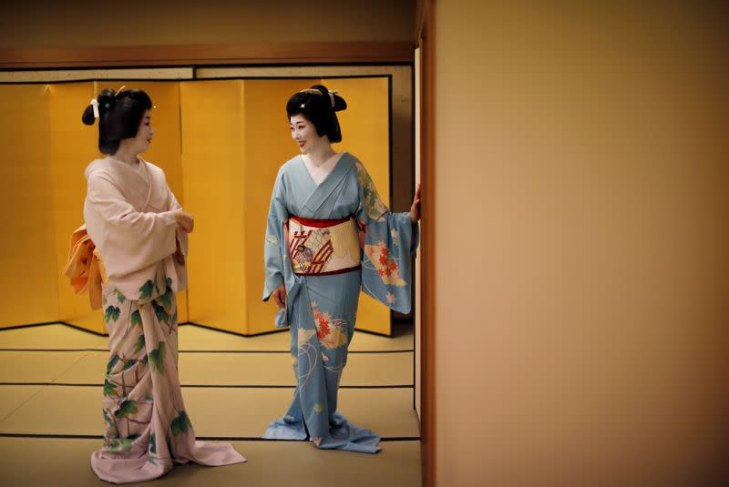 What does a geisha do with spare time? Read manga, play with cats