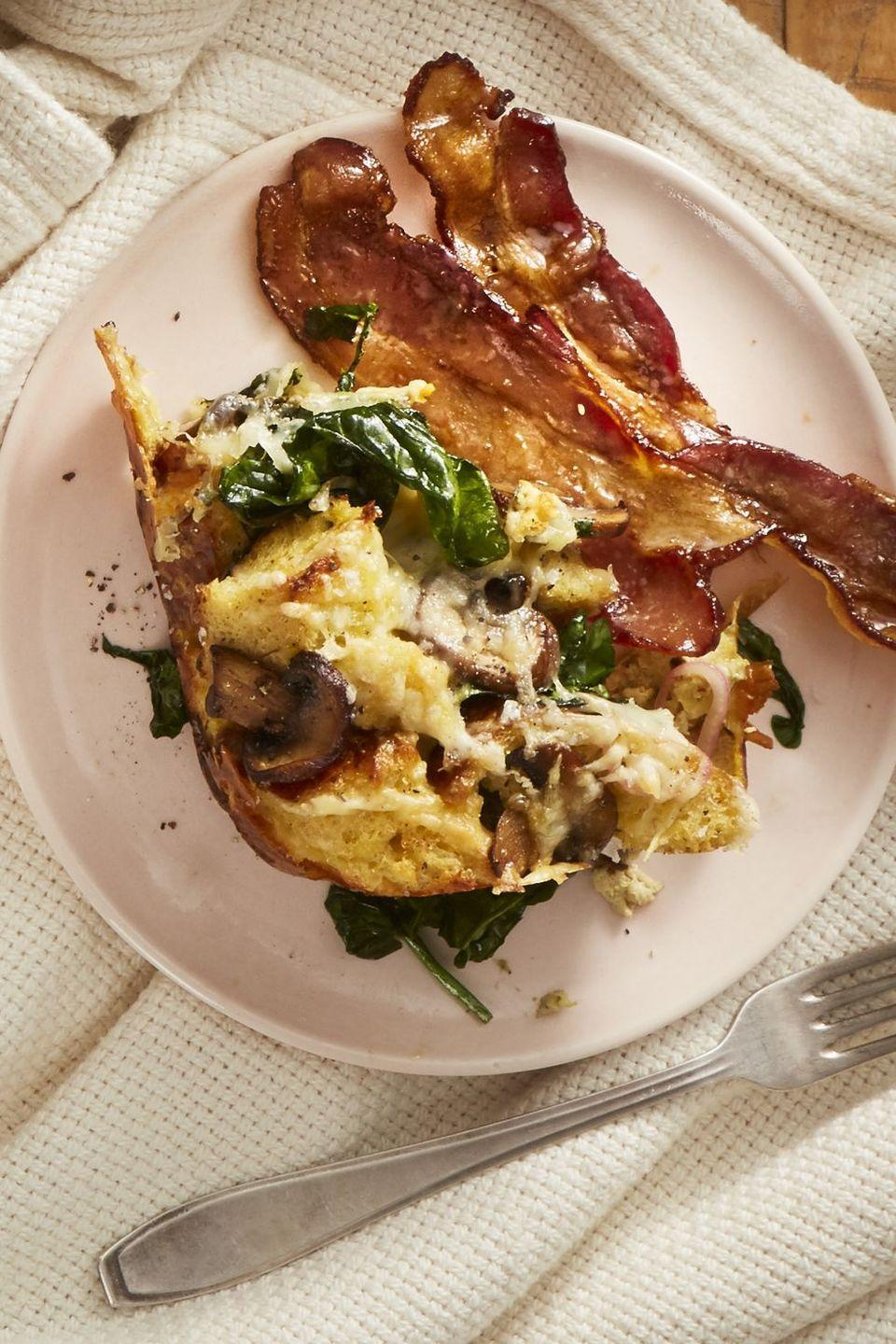 "<p>Turkey will have its time to shine later in the day. Right now? We're devoting 100% of our attention to bacon. </p><p><em><a href=""https://www.goodhousekeeping.com/food-recipes/a25333135/coffee-glazed-bacon-recipe/"" rel=""nofollow noopener"" target=""_blank"" data-ylk=""slk:Get the recipe for Coffee-Glazed Bacon »"" class=""link rapid-noclick-resp"">Get the recipe for Coffee-Glazed Bacon »</a></em></p><p><strong>RELATED: </strong><a href=""https://www.goodhousekeeping.com/food-recipes/cooking/g4678/how-to-cook-bacon/"" rel=""nofollow noopener"" target=""_blank"" data-ylk=""slk:How to Cook Perfectly Crisp Bacon"" class=""link rapid-noclick-resp"">How to Cook Perfectly Crisp Bacon </a><br></p>"