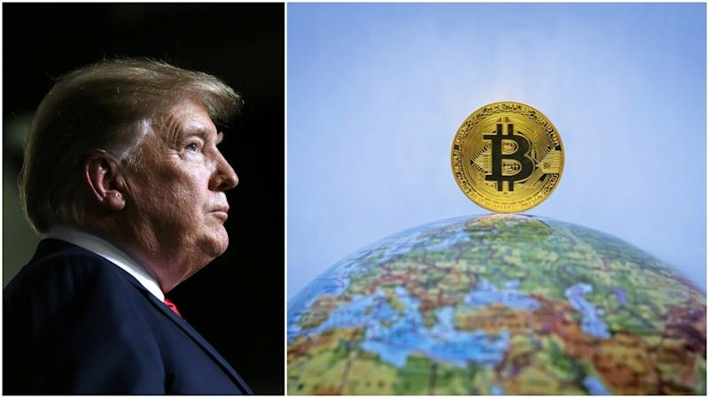 The sitting US president is tweeting about bitcoin.| Source: REUTERS/Leah Millis/Shutterstock; Edited by CCN
