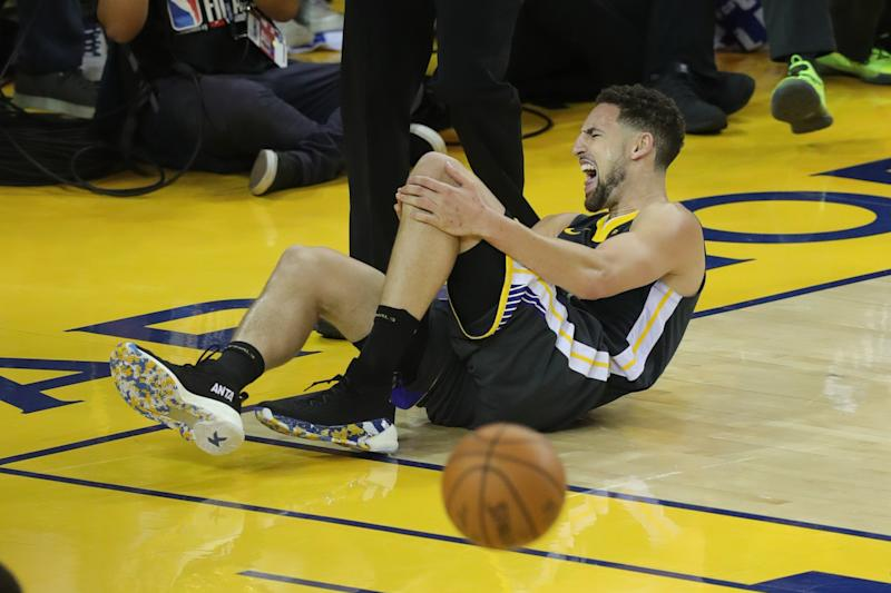 Jun 13, 2019; Oakland, CA, USA; Golden State Warriors guard Klay Thompson (11) reacts after being fouled by Toronto Raptors guard Danny Green (14) during the second half in game six of the 2019 NBA Finals at Oracle Arena. Mandatory Credit:Sergio Estrada-USA TODAY Sports