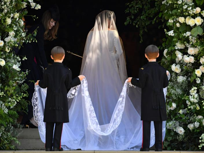 Meghan Markle's wedding veil held by two pageboys.