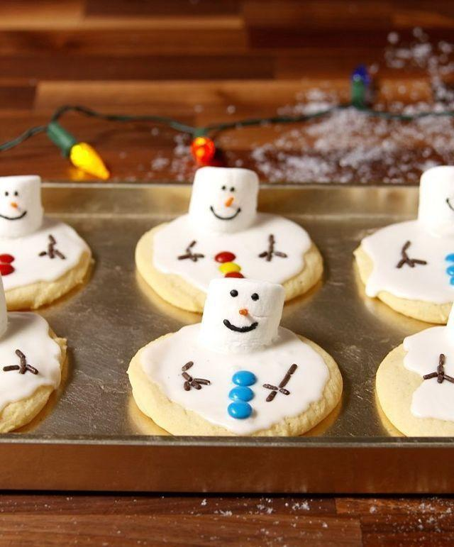 """<p>Turn simple sugar cookies into an adorable treat with a little white icing and marshmallows.</p><p><em><a href=""""https://www.delish.com/cooking/recipe-ideas/recipes/a50750/melted-snowman-cookies-recipe/"""" rel=""""nofollow noopener"""" target=""""_blank"""" data-ylk=""""slk:Get the recipe from Delish »"""" class=""""link rapid-noclick-resp"""">Get the recipe from Delish »</a></em></p>"""