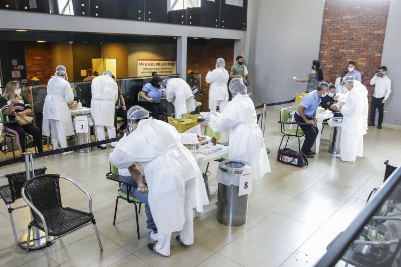 Transport professionals from Sorocaba, (SP), Brazil being tested for Covid-19 on Wednesday, July 15, 2020 at Shopping Pátio Cianê. 1500 tests applied by the Secretariat of Health (SES) will be applied. (Photo: Cadu Rolim/Fotoarena/Sipa USA)(Sipa via AP Images)