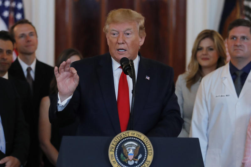 President Donald Trump speaks during a ceremony where he will sign an executive order that calls for upfront disclosure by hospitals of actual prices for common tests and procedures to keep costs down, at the White House in Washington, Monday, June 24, 2019. (AP Photo/Carolyn Kaster)