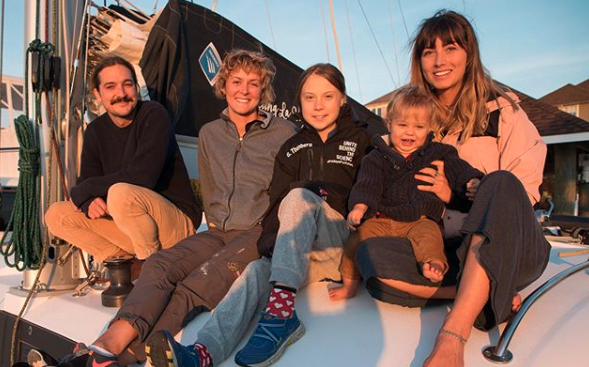 Greta Thunberg (centre) on board the boat with owner Riley Whitelum, skipper Nikki Henderson and Elayna Carausu with 11-month-old Lenny. Source: Instagram