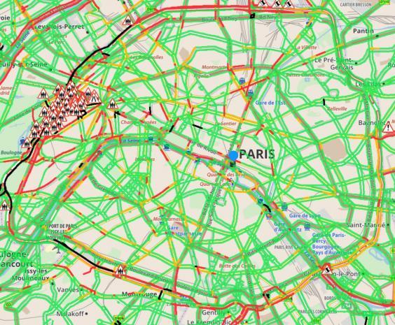 Traffic on the main ring road in Paris was severely affected by the protests (Michelin)