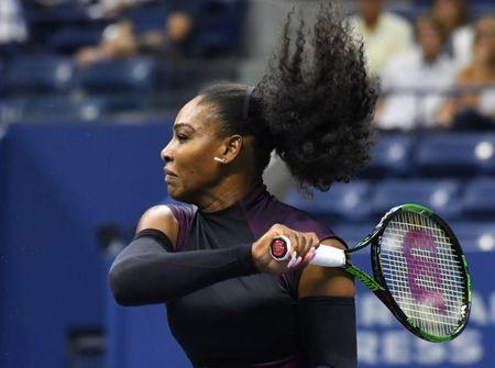 Sept 1, 2016; New York, NY, USA; Serena Williams of the USA hits to Vania King of USA (not pictured) on day four of the 2016 U.S. Open tennis tournament at USTA Billie Jean King National Tennis Center. Mandatory Credit: Robert Deutsch-USA TODAY Sports  / Reuters  Picture Supplied by Action Images