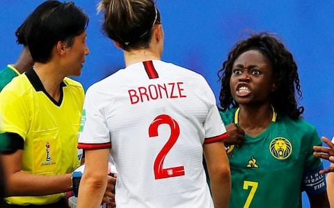 <span>Cameroon's Gabrielle Aboudi Onguene loses her cool</span> <span>Credit: reuters </span>