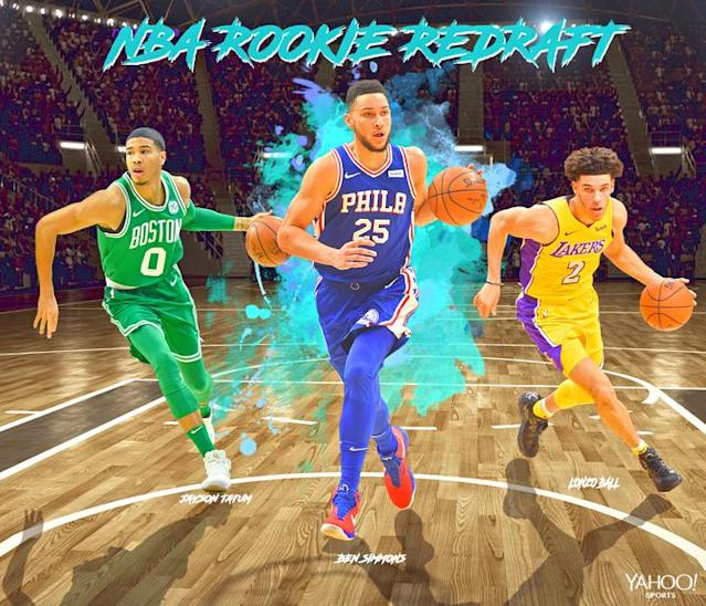 "<a class=""link rapid-noclick-resp"" href=""/nba/players/5600/"" data-ylk=""slk:Ben Simmons"">Ben Simmons</a>, <a class=""link rapid-noclick-resp"" href=""/ncaab/players/136029/"" data-ylk=""slk:Jayson Tatum"">Jayson Tatum</a> and <a class=""link rapid-noclick-resp"" href=""/ncaab/players/136151/"" data-ylk=""slk:Lonzo Ball"">Lonzo Ball</a> have been three of the most closely watched members of this year's rookie class. (Yahoo Sports illustration)"