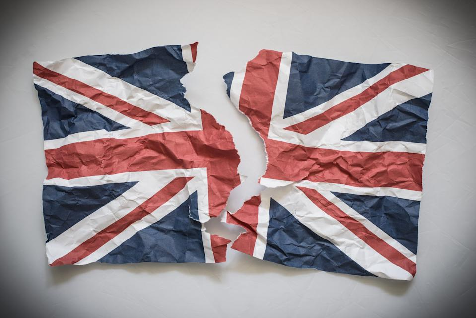 Brexit concept image: Union Jack ripped into two pieces. Photo: Getty